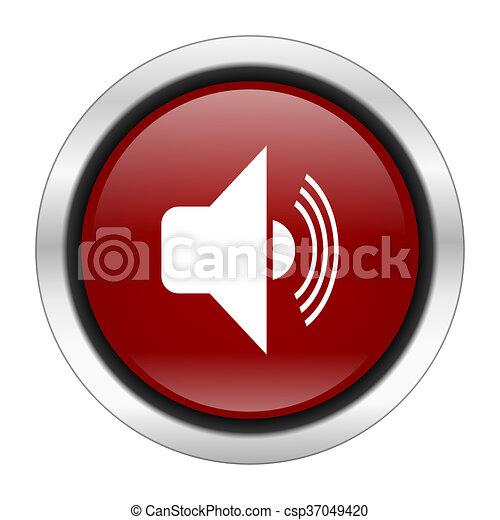 volume icon, red round button isolated on white background, web design illustration - csp37049420