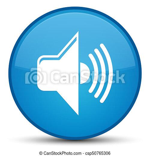 Volume icon special cyan blue round button - csp50765306