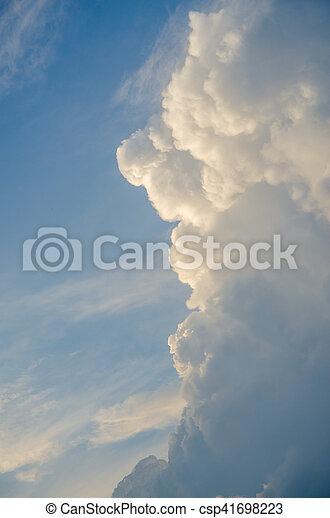 volumetric clouds at sunset