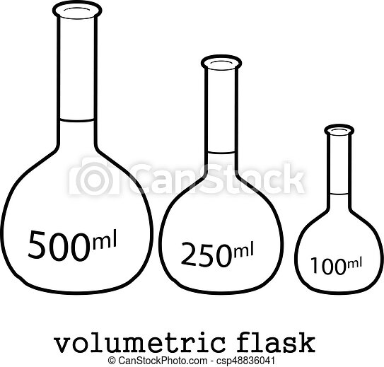 Volumetric flask icon outline. Volumetric flask icon in ...