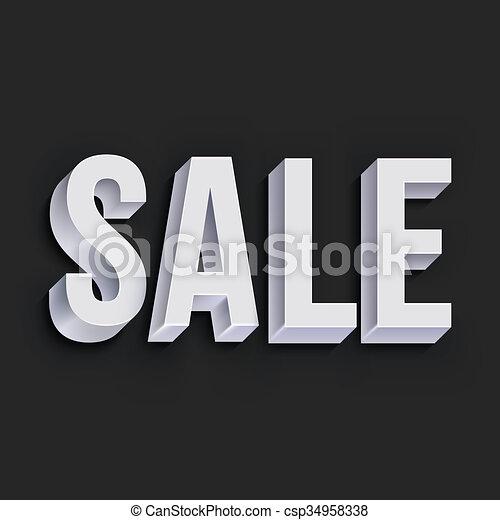 Volumetric white Sale lettering