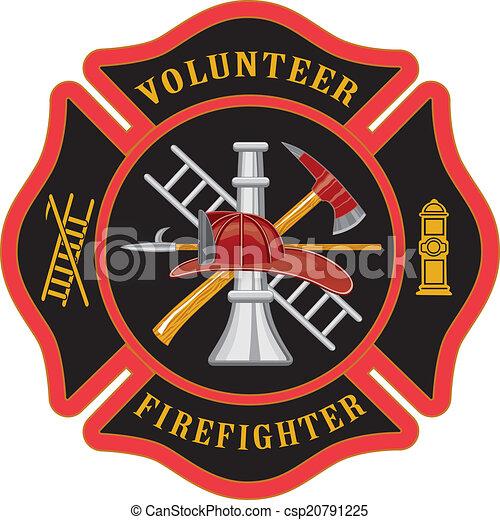 Volunteer Firefighter Maltese Cross - csp20791225