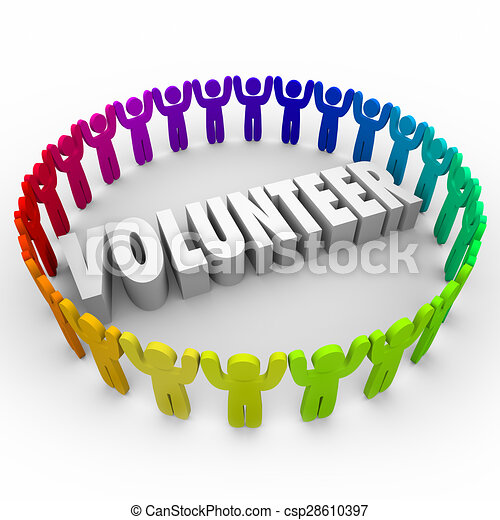 Volunteer People in Ring Around 3d Word Donate Time - csp28610397