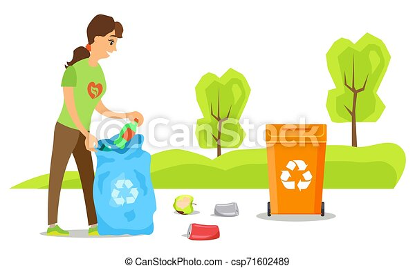 Volunteer Sorting Garbage, Clean Up Street Vector - csp71602489