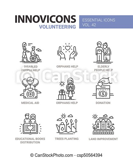 Volunteering - modern vector line design icons set. - csp50564394