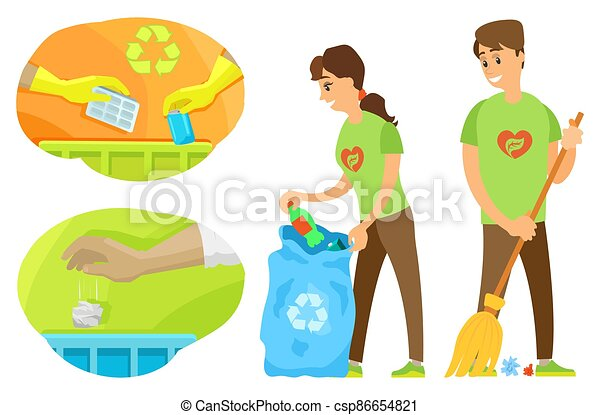 Volunteers Cleaning Up Environment, Trash Vector - csp86654821