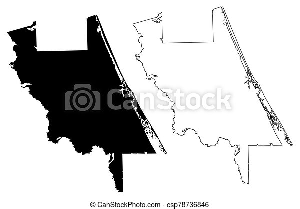 Volusia County, Florida (U.S. county, United States of America, USA, U.S., US) map vector illustration, scribble sketch Volusia map - csp78736846
