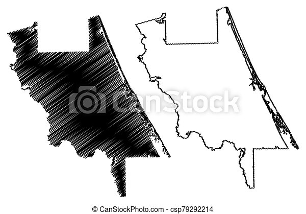 Volusia County, Florida (U.S. county, United States of America, USA, U.S., US) map vector illustration, scribble sketch Volusia map - csp79292214