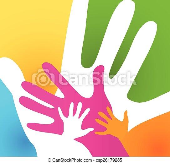volwassenen, kinderen, samen, handen - csp26179285