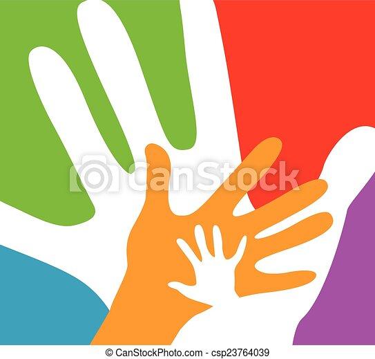 volwassenen, kinderen, samen, handen - csp23764039