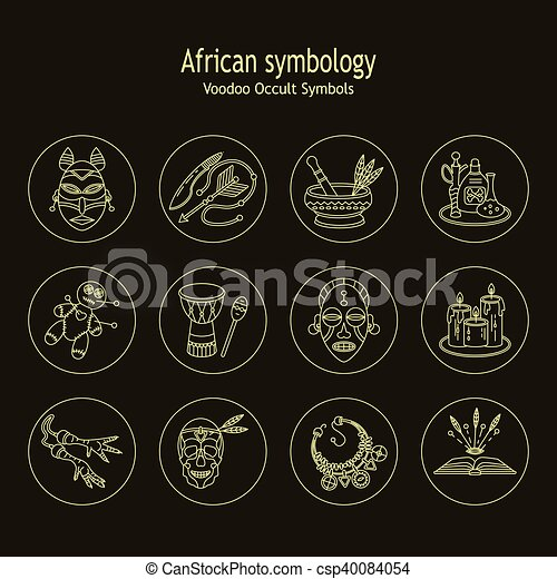 Voodoo African and American magic vector line icons