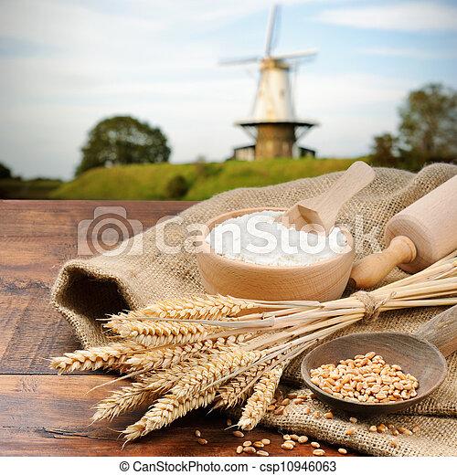 voorbereiding, ingredienten, organisch, brood - csp10946063