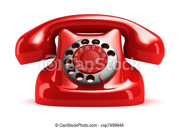 voorkant, telefoon, retro, rood, aanzicht - csp7499944
