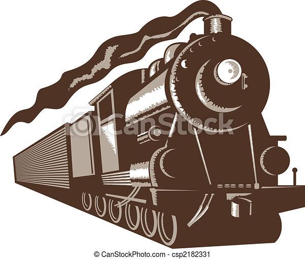voorkant, trein, stoom, eurobiljet, aanzicht - csp2182331