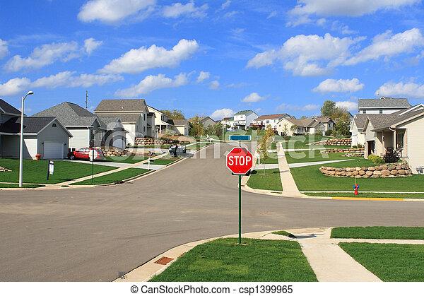 voorstedelijk, woonwijk, woongebied, huizen, nieuw - csp1399965