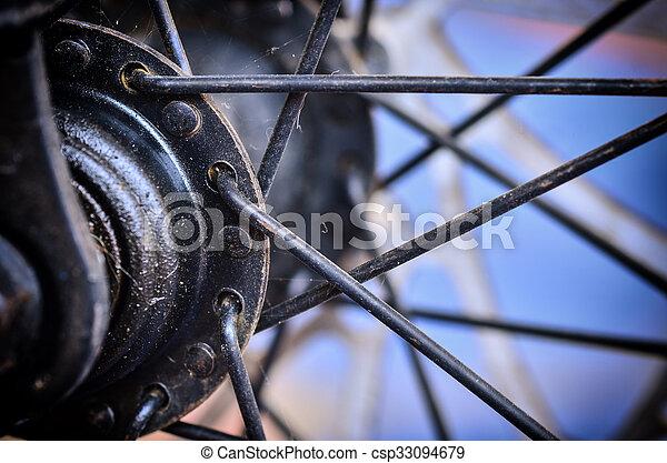Vorderes rad, fahrrad, nabe. Rad, fahrrad, nabe, licht