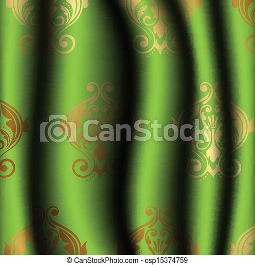 Vorhang Grun Gold Muster Muster Vektor Grun Gold Vorhang