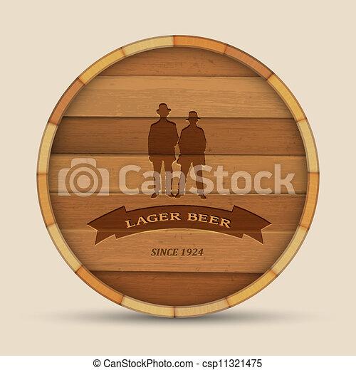 vorm, houten, mannen, twee, etiket, bier, vector, vat - csp11321475