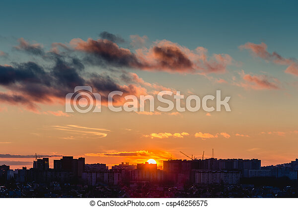 Voronezh City in sunset time, Silhouettes of houses in the evening haze - csp46256575