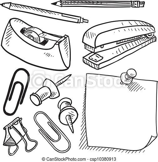 Büromaterial clipart  Vorräte, skizze, buero. Stil, satz, stift, buero, gekritzel ...
