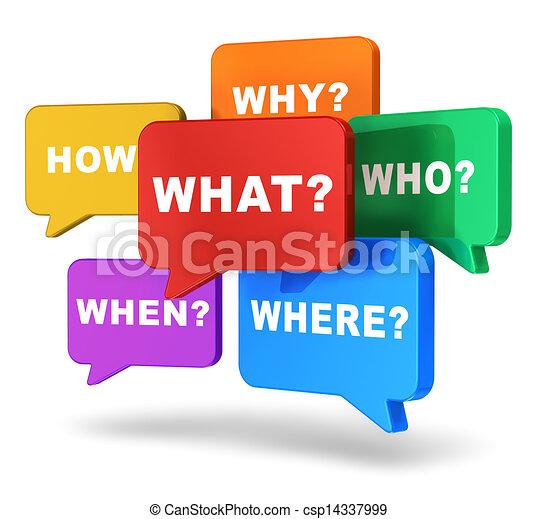 Redeballons mit Fragen - csp14337999