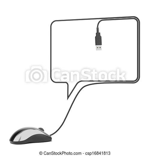 Vortrag halten , maus, blase, kabel, schwarz. Kabel, maus ...