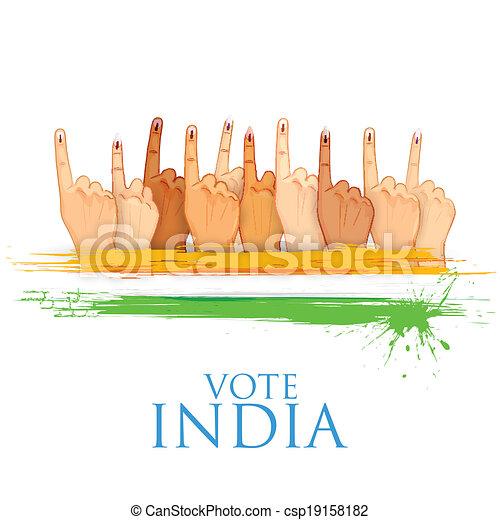 Mano con signo de voto de la India - csp19158182