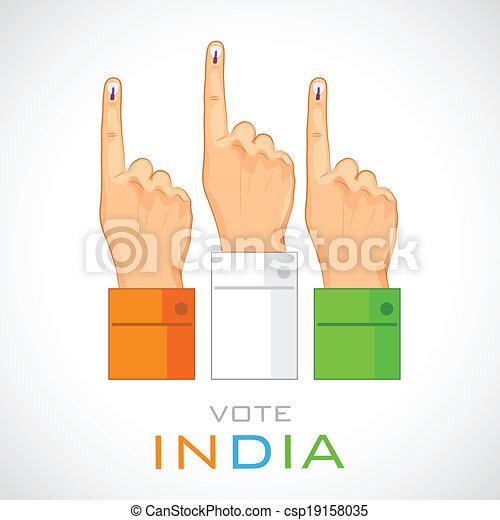Mano con signo de voto de la India - csp19158035