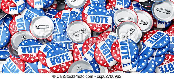 vote 2020 election badge background, vote USA 2020, 3D illustration, 3D rendering - csp62780962