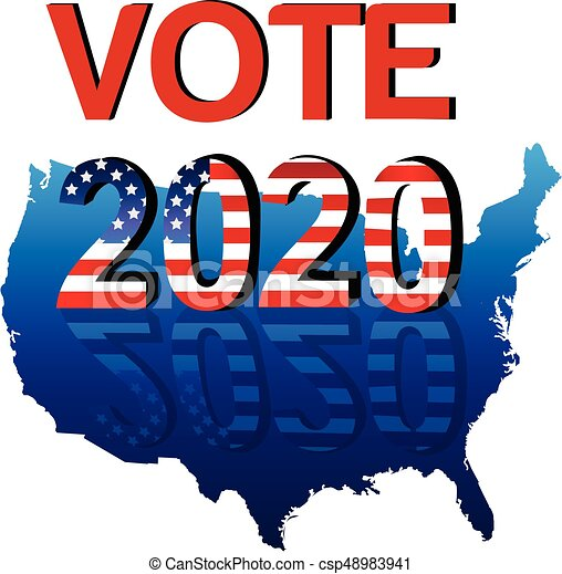 Vote 2020 usa map background logo vector image.