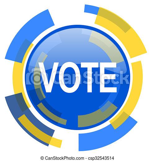 vote blue yellow glossy web icon - csp32543514