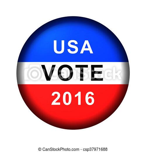 Vote Button 2016 - csp37971688