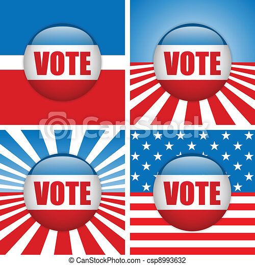Vote Buttons. Set of four with Background - csp8993632