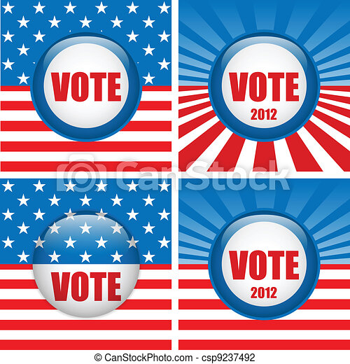 Vote Buttons. Set of four with Background - csp9237492