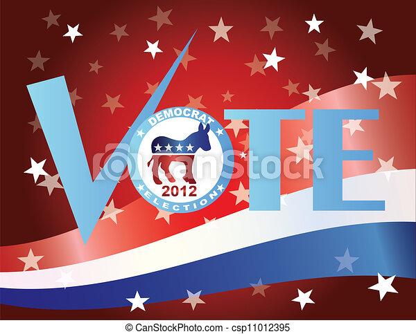 Vote Democrat Check Mark with US Flag - csp11012395