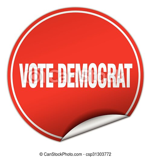 Vote democrat round red sticker isolated on white vector