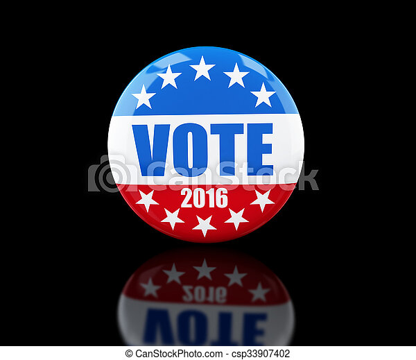 vote election badge button for 2016 3d Illustrations on black background - csp33907402