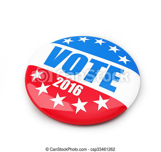 vote election badge button for 2016 - csp33461262