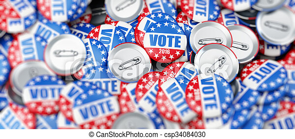 vote election badge button for 2016 background 3d Illustrations - csp34084030
