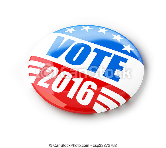 Vote election campaign badge button for 2016 - csp33272782