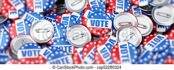 vote election on a white background 3D illustration, 3D rendering - csp52280324