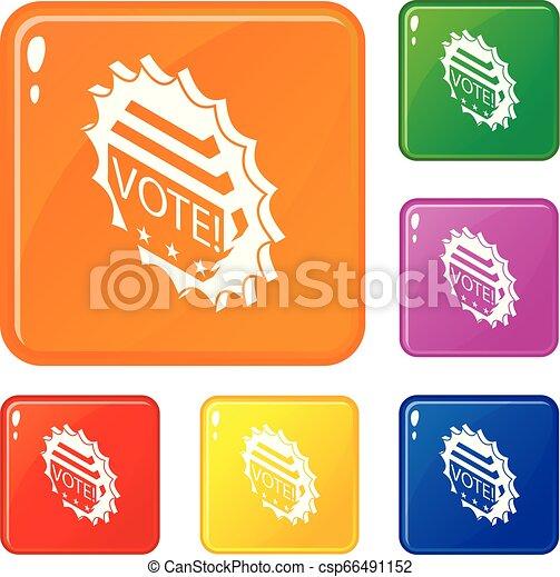 Vote emblem icons set vector color - csp66491152