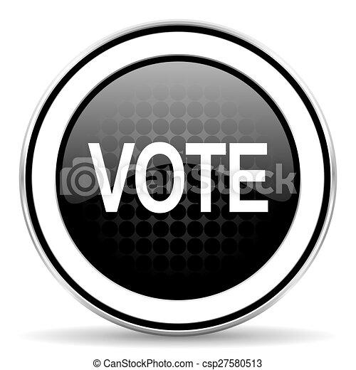 vote icon, black chrome button - csp27580513