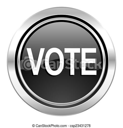 vote icon, black chrome button - csp23431278
