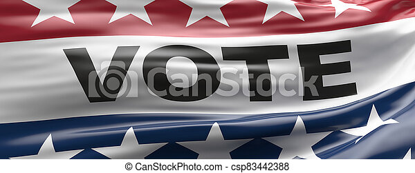 Vote on US America election day. VOTE text on waving american flag with patriotic stars background. 3d illustration - csp83442388