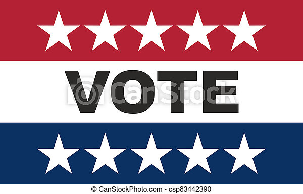 Vote on US America election day. VOTE text on american flag colors with patriotic stars background - csp83442390