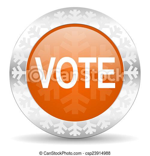 vote orange icon, christmas button - csp23914988