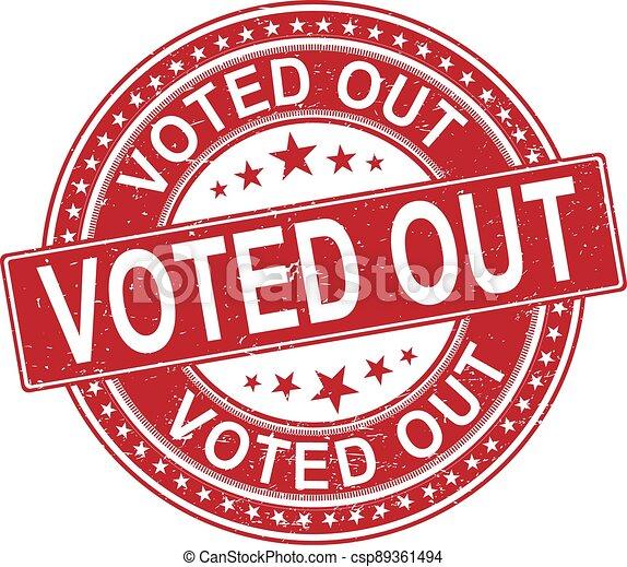 vote out. stamp. black round grunge vintage vote sign - csp89361494