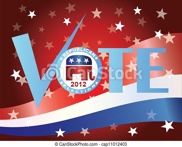 Vote Republican 2012 with US Flag - csp11012403