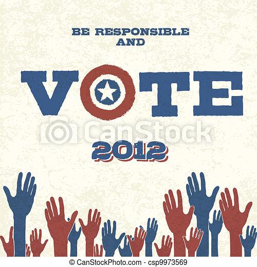 Vote! Retro poster, vector illustration, EPS10 - csp9973569